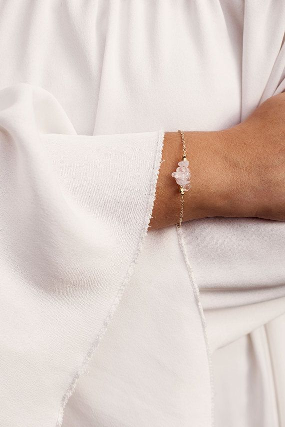 Rose Quartz Bar Bracelet Rose Quartz by MoonTideJewellery on Etsy