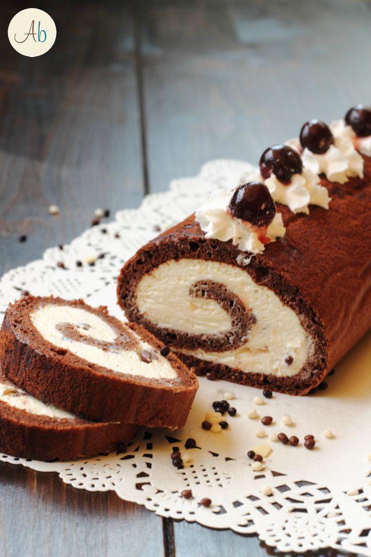 Rotolo al Cacao con Crema al Mascarpone e Cioccolato - un dolce delizioso e scenografico per le occasioni importanti o le feste in famiglia!