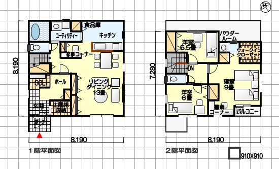 部屋数よりも機能重視の間取り例 シューズクローゼット、家事コーナー他 南玄関 3LDK 37坪の間取り例