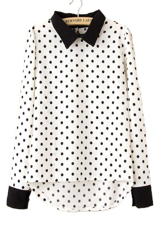 White Polka Dot Print Long Sleeve Chiffon Blouse