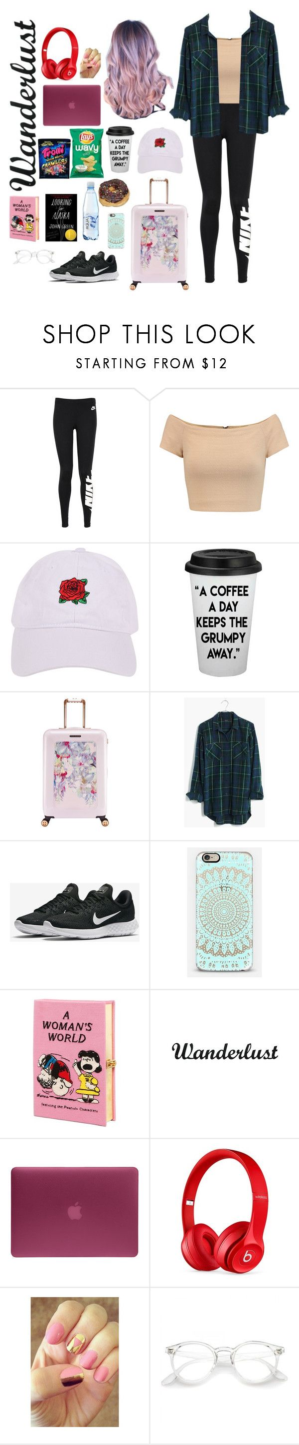 """""""Airport Outfit"""" by shagurl ❤ liked on Polyvore featuring NIKE, Alice + Olivia, Armitage Avenue, Ted Baker, Madewell, Olympia Le-Tan, Incase, Beats by Dr. Dre and Rad Nails"""