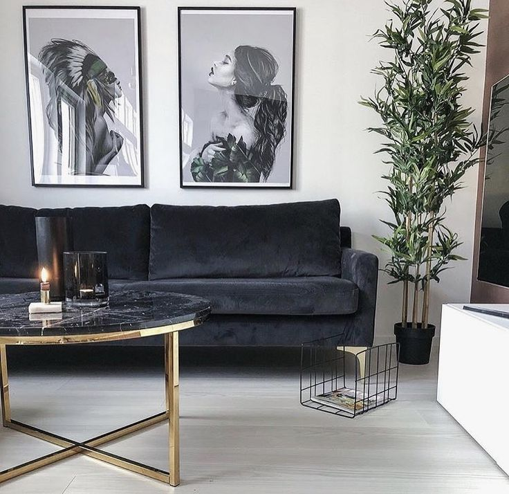 Livingroom Sofa Velvet Grey Round Table Coffee Gold Wall Picture Xl Plants #NordicGlam