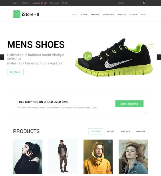 This minimal Joomla template features a responsive layout, VirtueMart compatibility, K2 support, multiple preset color schemes, RTL language support, a lightweight framework, and more.