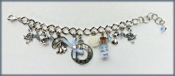 Alice in Wonderland bracelet, Alice charm bracelet, Alice in Wonderland jewelry, Wonderland jewelry