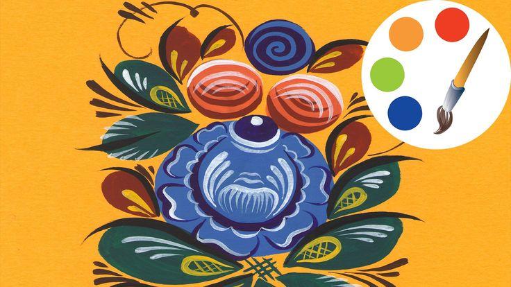 Рисуем городецкий цветок #2, Gorodetsky paint a flower, irishkalia
