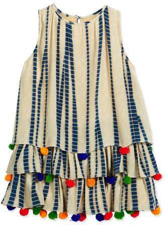 Hemant and Nandita Silk Chiffon PomPom Dress