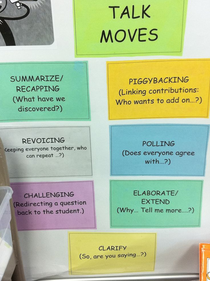 Talk Moves - Ways to contribute to or move discussions along. Excellent idea especially since students need to be talking about their learning in greater depth.