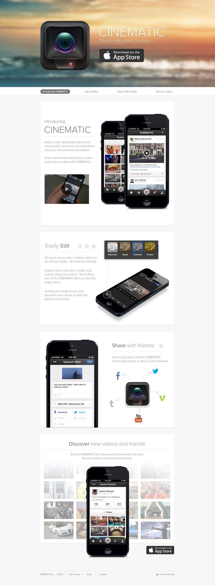 Cinematic iPhone App - Landing Page