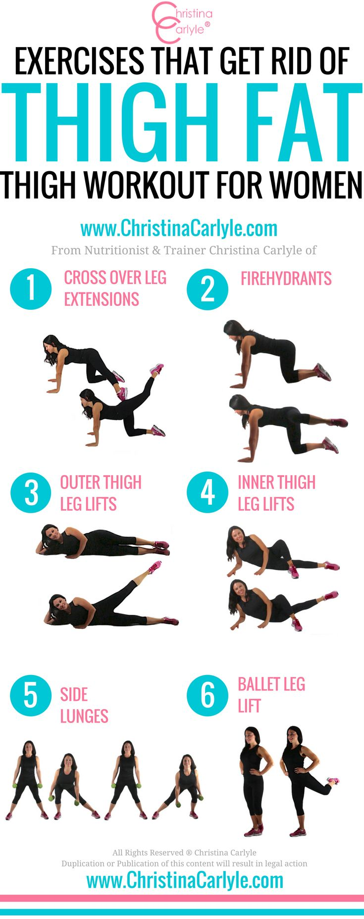 Exercises that Get Rid of Thigh Fat and a complete fat burning thigh workout from nutritionist and trainer Christina Carlyle. #thighworkout #fitness