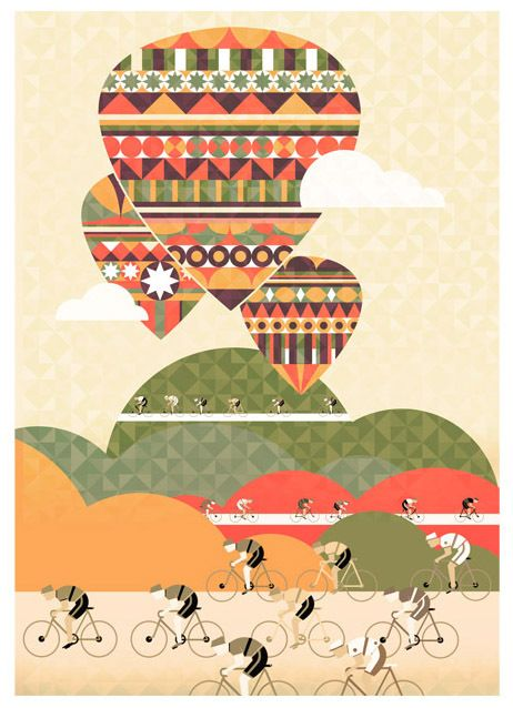 Cycle Tour Print by Neil Stevens, via Behance. London.