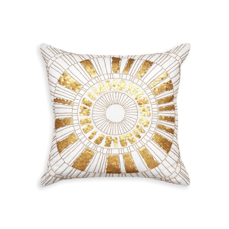 Punctuate a bed or sofa with the shimmery brilliance of this sunburst motif pillow. The Talitha Sunburst Pillow's chunky ivory linen body is brazenly embellished with countless disks and beads set in a wow-worthy sunburst pattern and is available exclusively at Coco Republic. #CocoRepublic #JonathanAdler #Pillow #Cushion #Decor #InteriorStyling