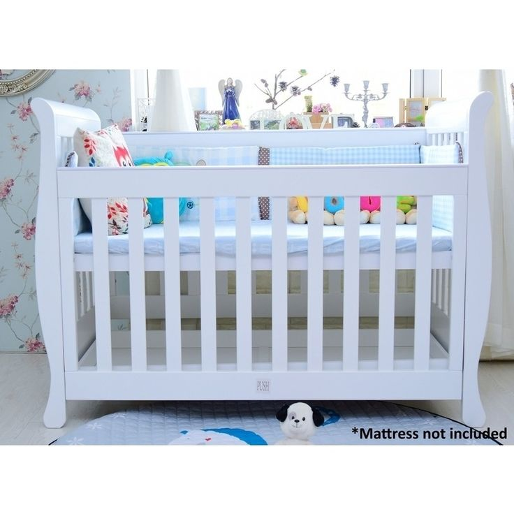 Sunshine Sleigh Baby Cot Bed w/ Toddler Rail White | Buy Cots