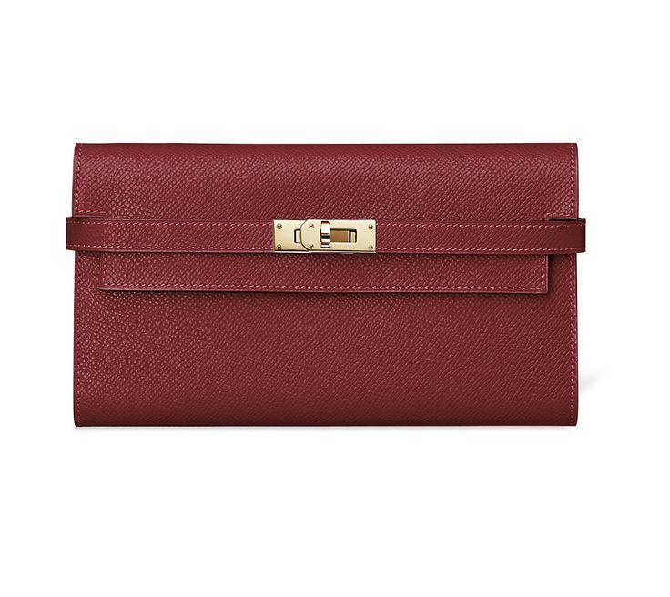 Hermes - Kelly purse in 'Garnet Red' Epsom leather.