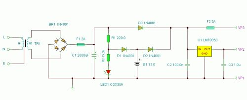 Basic UPS Power Supply - circuit diagrams, schematics, electronic projects
