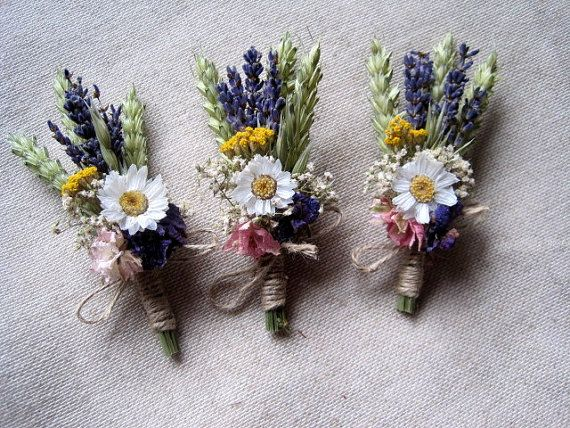 Meadow dried flower boutonniere set- 6 groomsman wedding buttonhole rustic country groom wedding decor vintage garden boutonniere