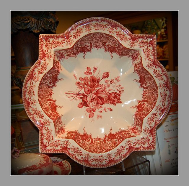 red and white dish