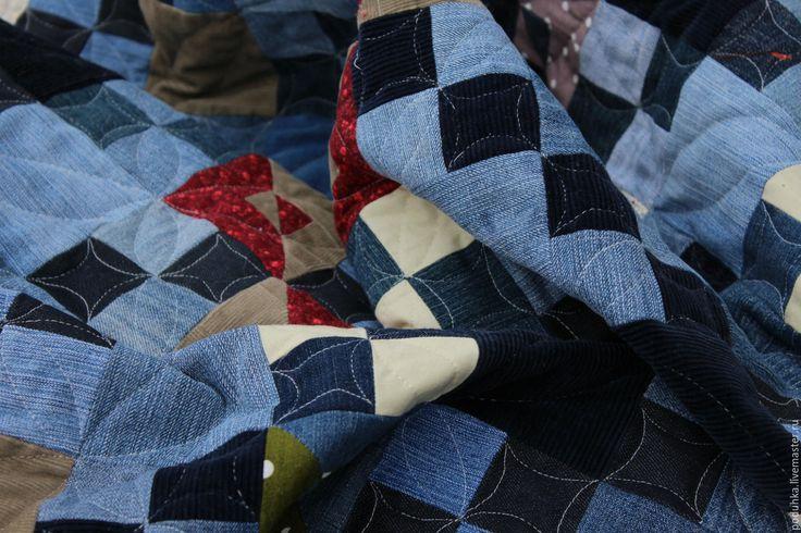 """Купить Покрывало на диван """"Джинсовое"""" - тёмно-синий, синий, голубой, цветной, джинс, джинсовый стиль"""