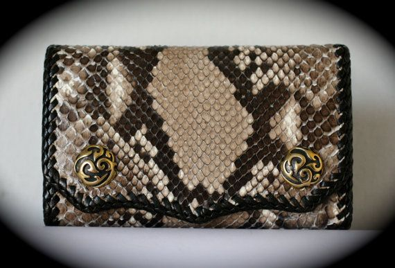 Leather Wallet Genuine Exotic Python Snake by Mygoth (MSW008)