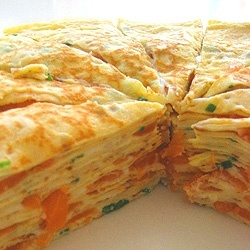 Mille Crepes with smoked salmon, chevre and chives. (No recipe.  Link is gone)   Great idea for buffet or a crowd.