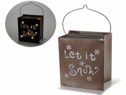 Lanterna natalizia con luce in metallo anticato  cm18,5x13x20H (c/manico32) Funziona con 2 pile stilo (non incluse)