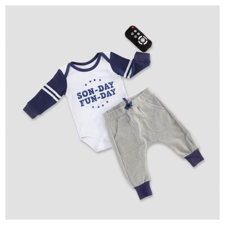 Baby Aspen Boys' My First Gameday 2pc Outfit with Rattle -0-6M,