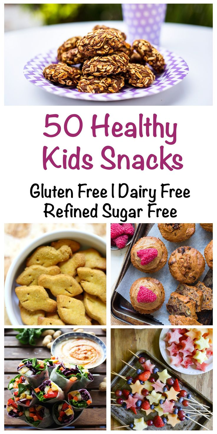 50 Healthy Kids Snacks that are gluten free, dairy free and refined sugar free. Made from real unprocessed food that your kids will love too.