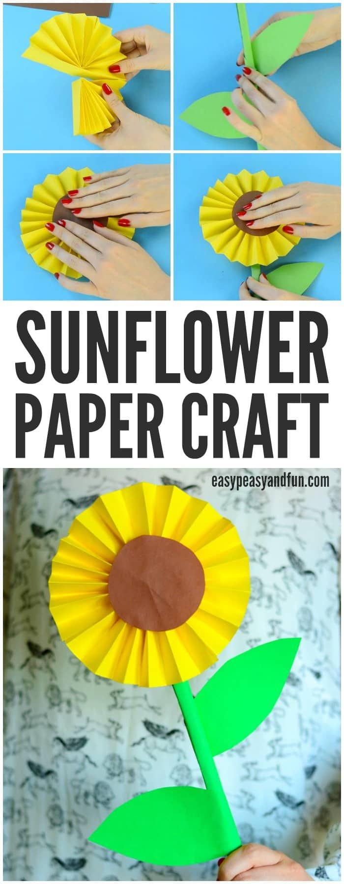 Idea del arte de papel del girasol de la diversión para que los niños hagan