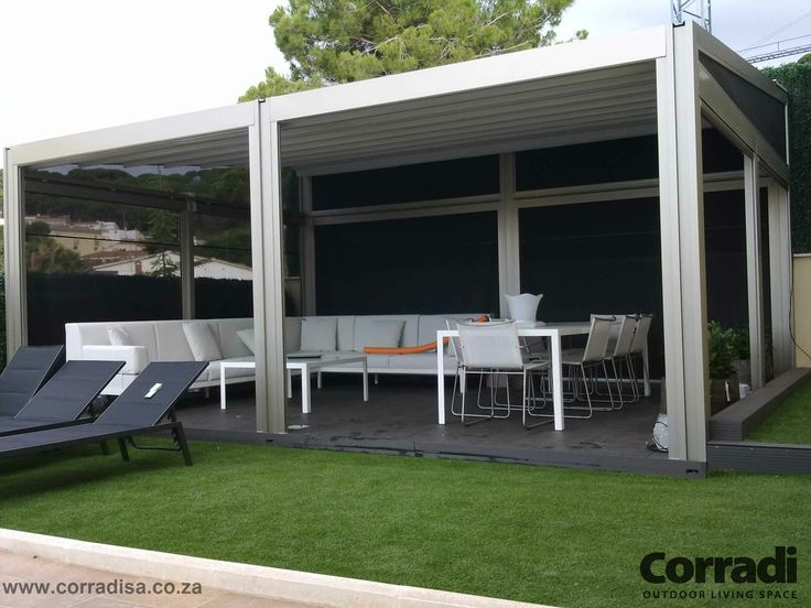 Invitingly cool - This outdoor space calls any hot, and bothered traveller to relax in the protective shade of the Pergotenda Millenium by Corradi.