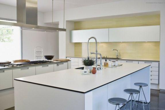 cuisines blanches ilot design moderne