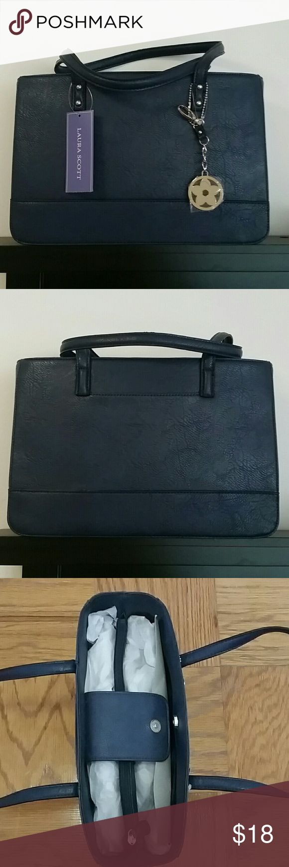 "Laura Scott Medium Tote Never been used with tags on. Navy blue handbag perfect for carrying a tablet, small laptop and more. Approx. 13.5"" long, 9"" deep, 5"" wide. Laura Scott Bags"