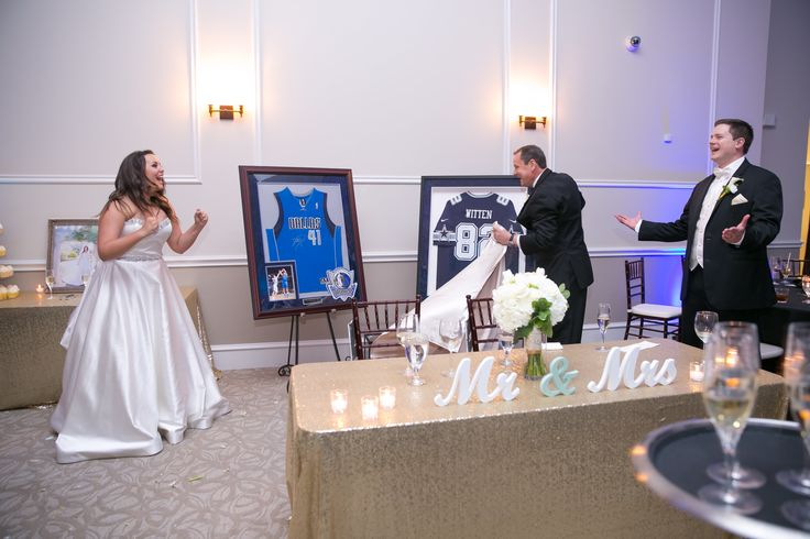 Surprised with autographed Jerseys of their favorite players on their big day! #WeddingGifts #GiftsForTheBride #GiftsForTheGroom Photography: TRU Identity Photography & Designs