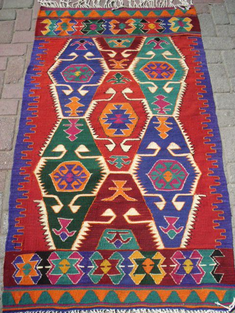 "Turkish Anatolian Kilim Rug Vegitable and Natural Color Wool on Cotton  68,5 by 39,4"" inches (174cm by 100cm)"