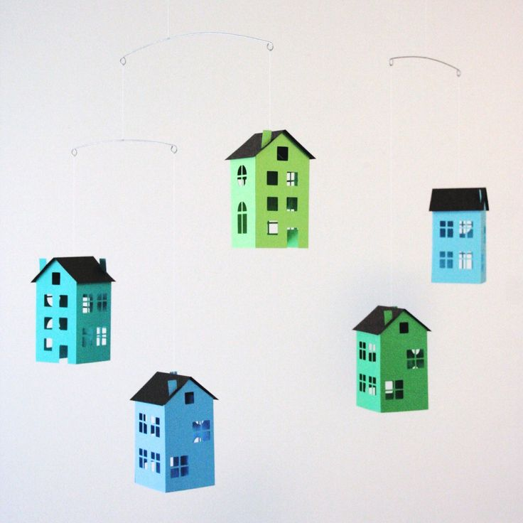Paper House Ceiling Mobile • Green Blue Turquoise Decor • Modern Scandinavian Nordic • Nursery Crib Cot Room Home Office • Baby Shower Gift by LoveLouHome on Etsy