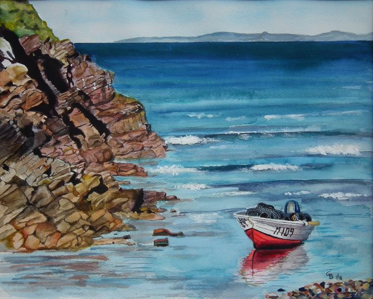'Boat at Little Haven' (Pembrokeshire); water colour by Gorica Bulcock. Sold.