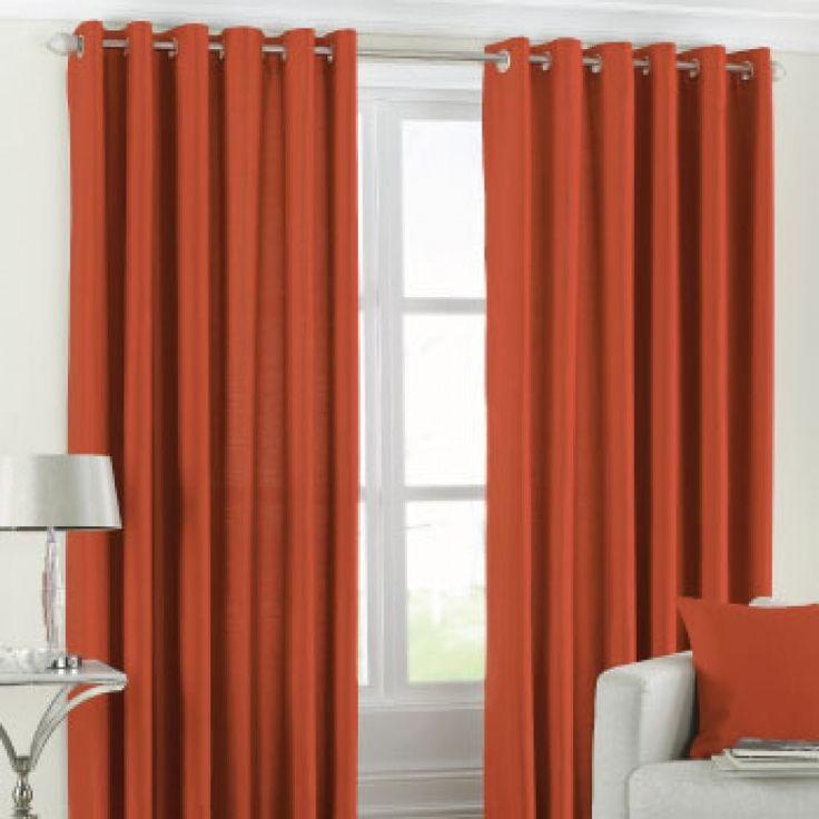 Fiji Faux Silk Burnt Orange Eyelet Curtains