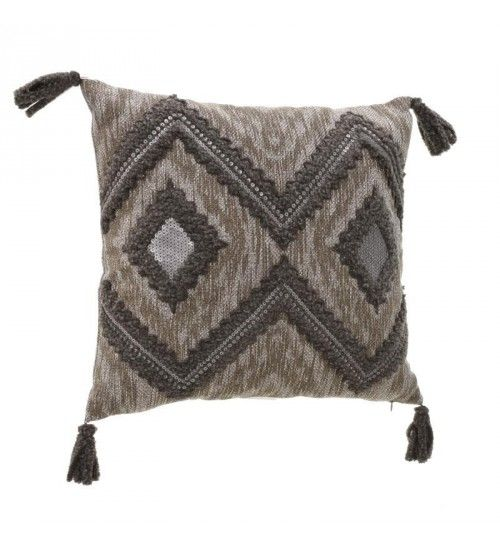 FABRIC FILLING CUSHION IN  GREY_BROWN COLOR W_TINSEL 45Χ45