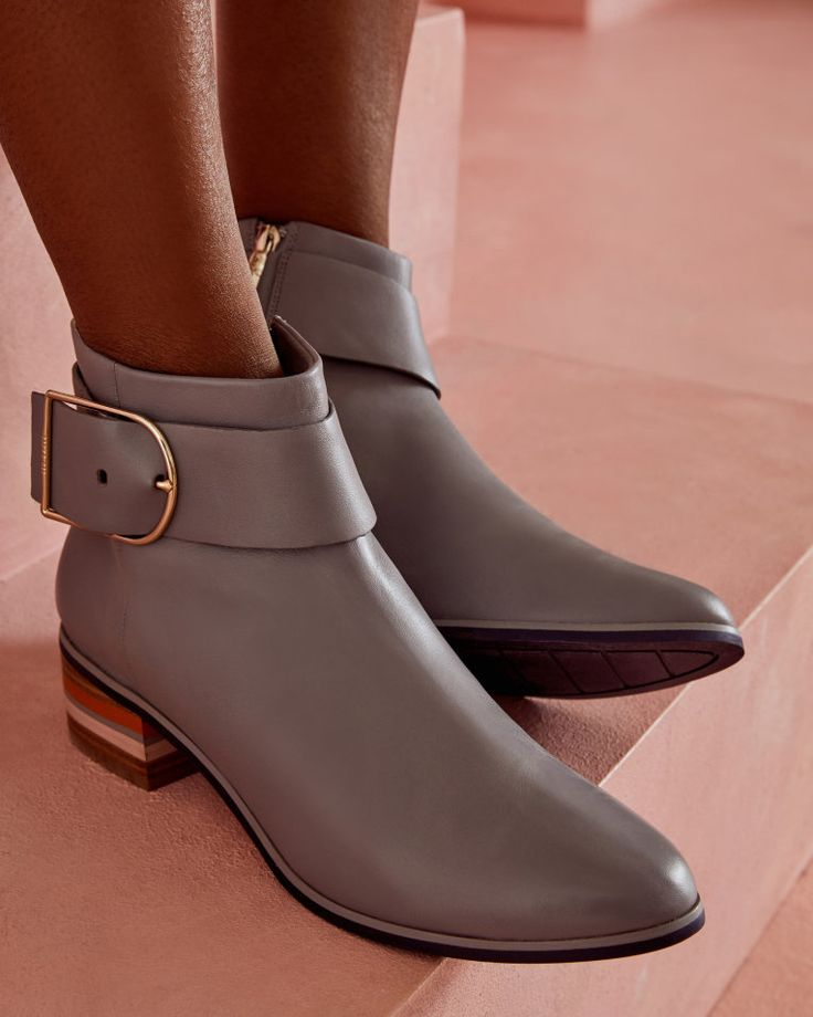 Buckled leather Chelsea boots - Grey   Shoes   Ted Baker ROW