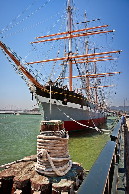 National Historic Landmark, The Balclutha, San Francisco, California. Balclutha, also known as Star of Alaska, Pacific Queen, or Sailing Ship Balclutha, is a steel-hulled full rigged ship that was built in 1886. Designed as a general trader, Balclutha rounded Cape Horn 17 times in her thirteen years. During this period she carried cargoes such as wine, case oil, and coal from Europe and the East Coast of the United States to various ports in the Pacific.