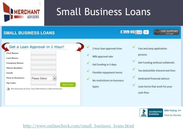 Business Loans Experts – Get business loans and unsecured business cash advance with no collateral with easy repayment terms for small businesses at an affordable cost. http://www.onlinecheck.com/business_loans.html