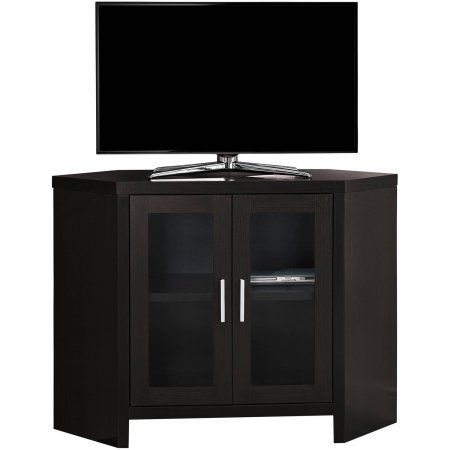 Monarch TV Stand, Corner with Glass Doors, For TV's Up To 42 inchL, Brown