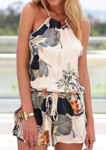 Stylish Round Neck Sleeveless Criss-Cross Printed Women's Romper