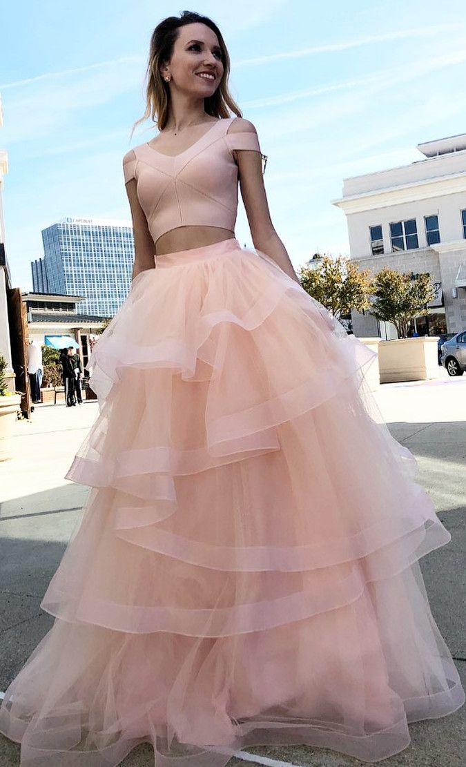 99131f702daab Princes Two Piece Pink Prom Dress, Pink Long Prom Dress 2019, Graduation Dress  Pink
