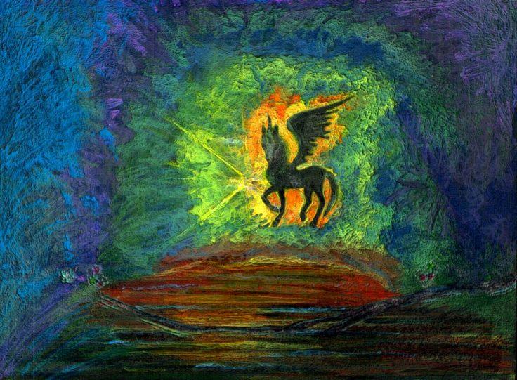 """*IT*  Un mio vecchio disegno. L'unicorno alato. *ENG*  One of my old drawings. The winged unicorn. *FR* Un des mes vieux dessins. La licorne ailée   - Puoi trovarmi anche su www.iltempogiusto.it, su Facebook (pagina """"Il Tempo Giusto""""), su Twitter (nebbioluna). Per contattarmi: nebbioluna@gmail.com"""