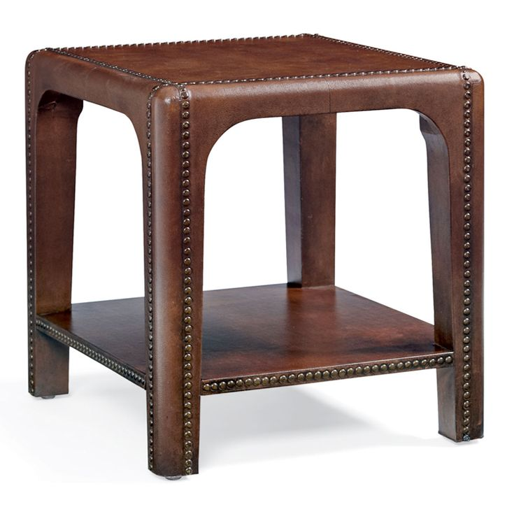 Bernhardt. Sicily End Table, leather wrapped, nailhead outlines