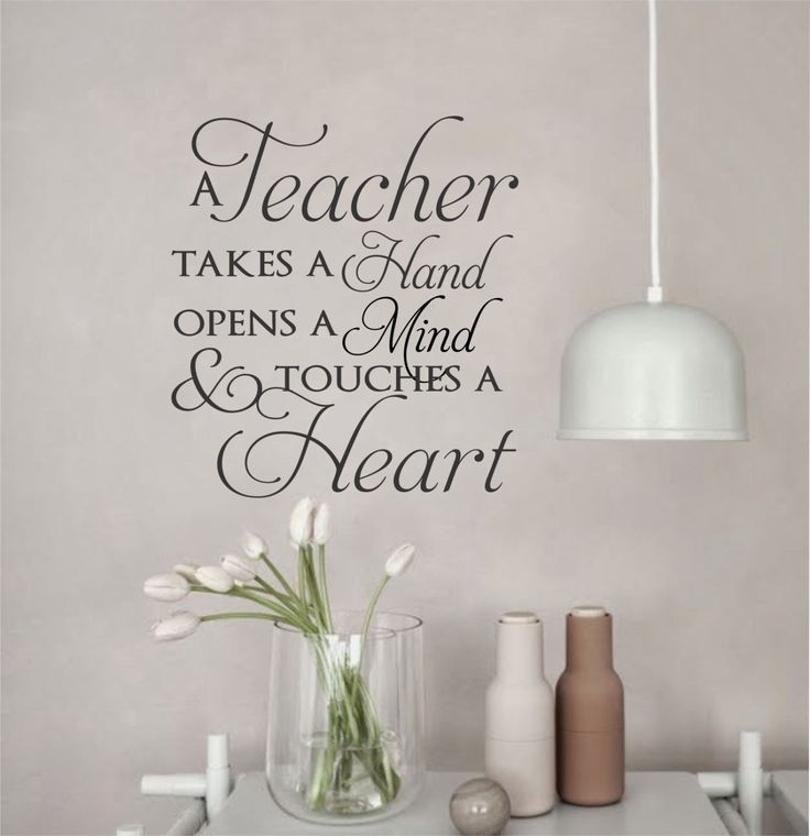 "Self-adhesive Vinyl Wall Lettering Overall size is 20"" wide x 22"" high *Choice with Red Apple or Without (second picture) A Teacher takes a Hand opens a Mind and touches a Heart CHOOSE YOUR COLOR FROM"