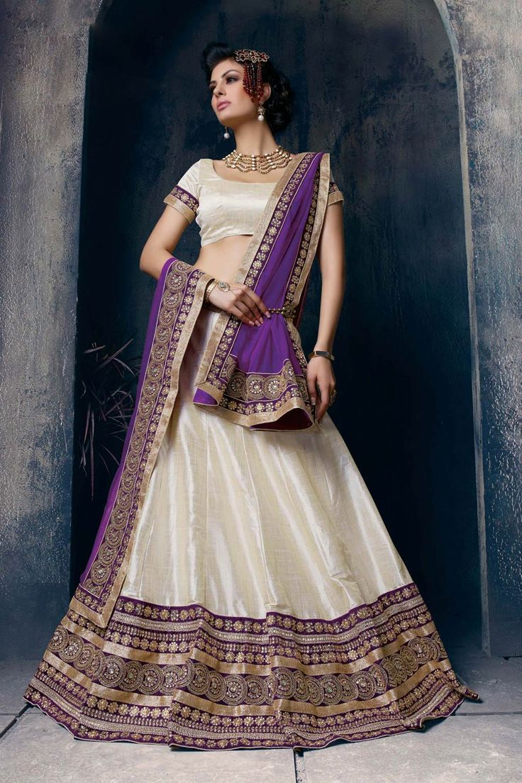 Off White Silk Wedding Lehenga Choli 63113