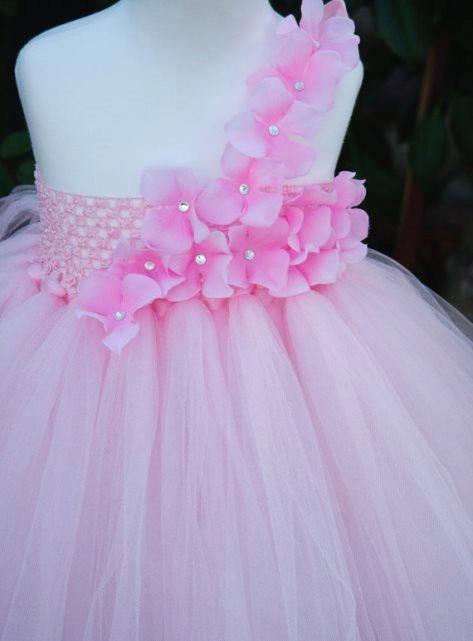 Pink Shimmer Tutu Dress with Pink Hydrangeas