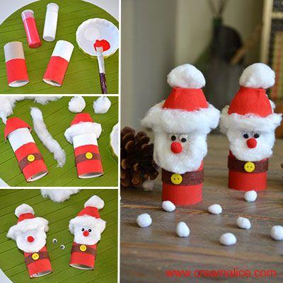 Voilà une chouette idée de recyclage créatif pour réaliser très facilement un joli petit Père Noël version Récup' que les petites mains adoreront!!!                                                                                                                                                                                 Plus