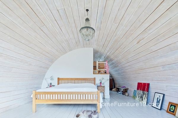 White Bed Linen And White Colored Ceiling Which Is Made From Wooden Veneer With Curve Shape