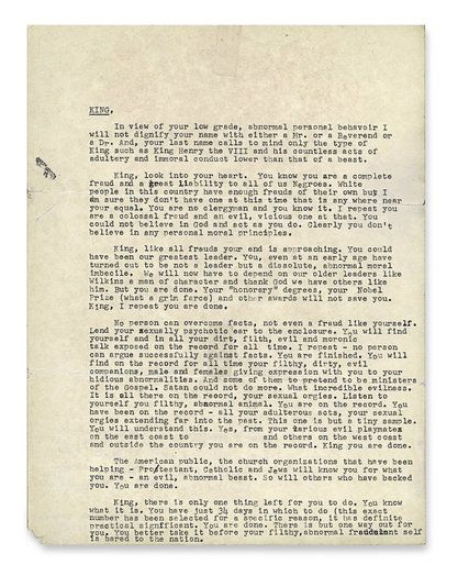 """The """"Suicide Letter"""" sent by FBI to Martin Luther King Jr. as part of an attempt at blackmail."""